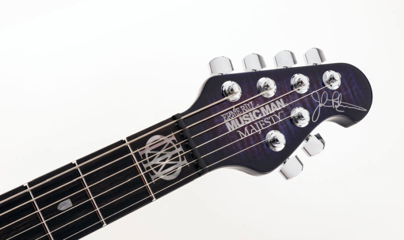 Ernie Ball Music Man The Majesty-matching flame maple headstock with ebony finger board and 24 stainless steel frets